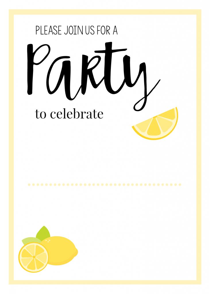 lemonblankpartyinvite lemoncelebrationblank lemonbridalshowerblank - Blank Party Invitations