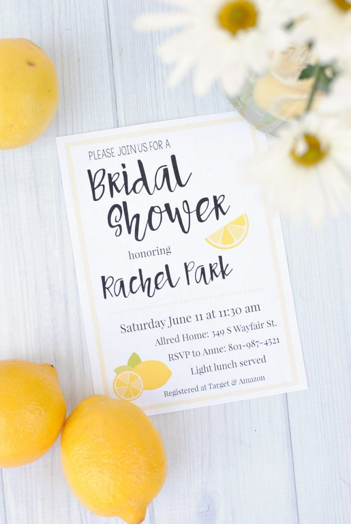 Lemon Themed Printable Bridal Shower Invitations