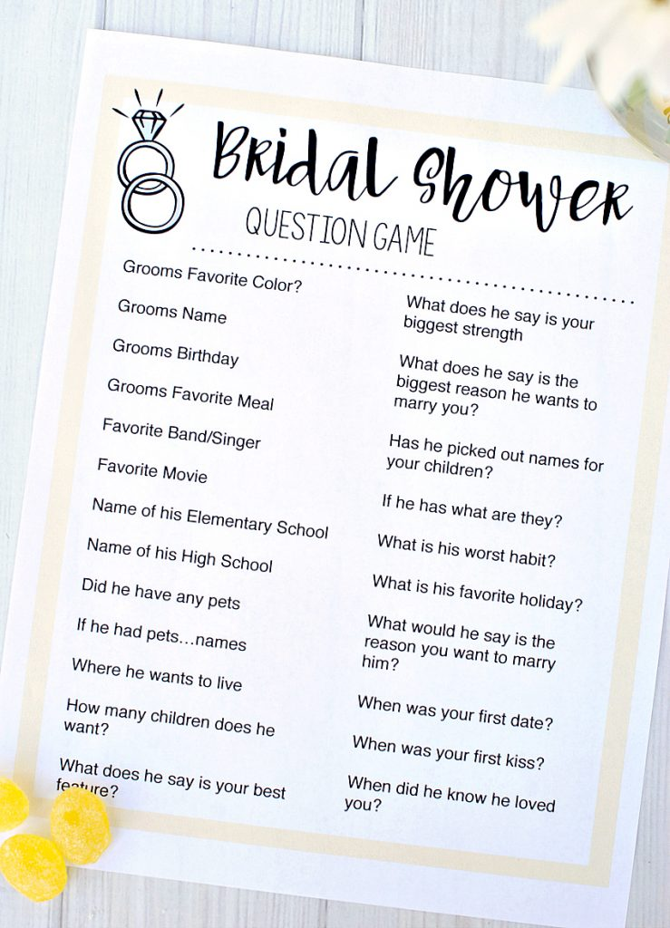 Printable Bridal Shower Question Game