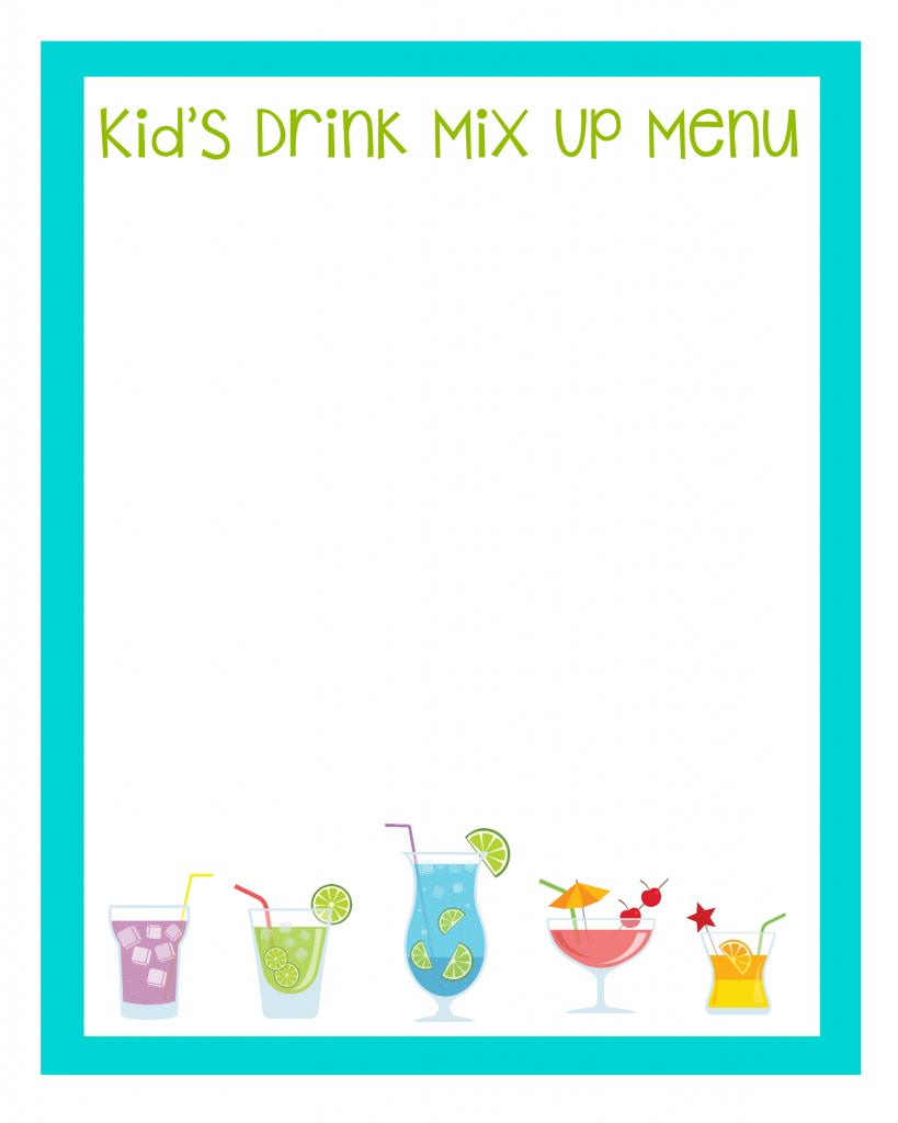 Kids Drink Mix Up Menu