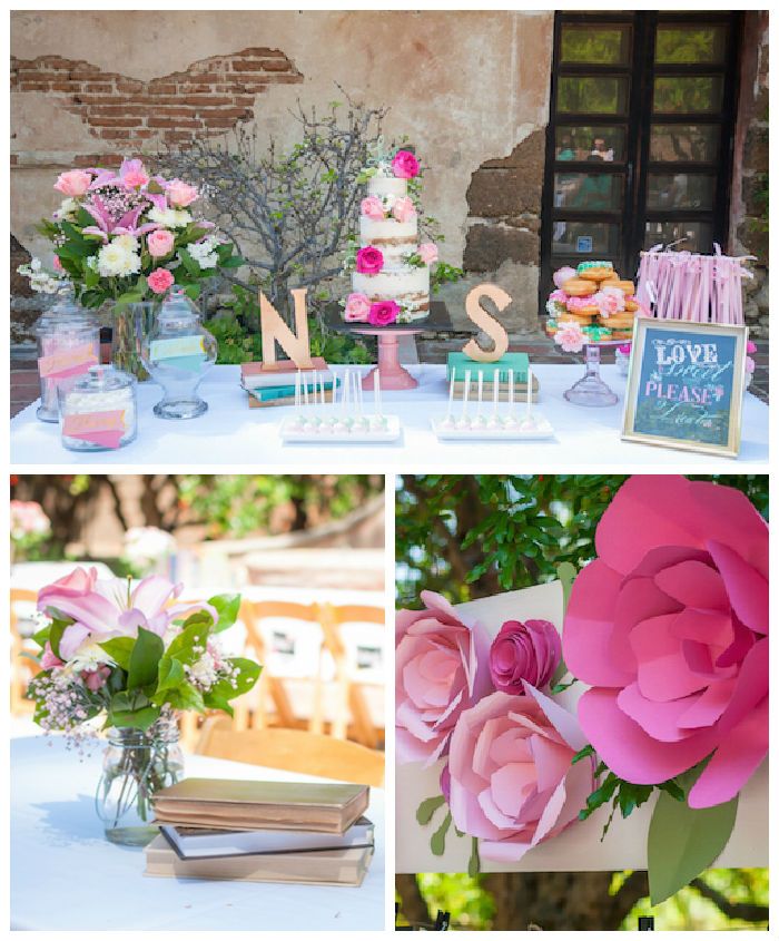shabby chic book themed bridal shower via karas