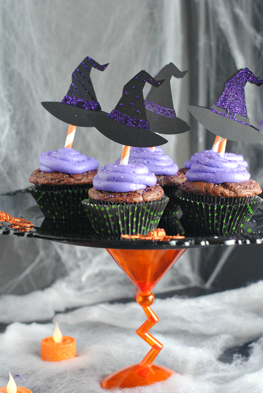 Witch cupcakes halloween cupcake stand fun squared - Halloween decorations for cupcakes ...