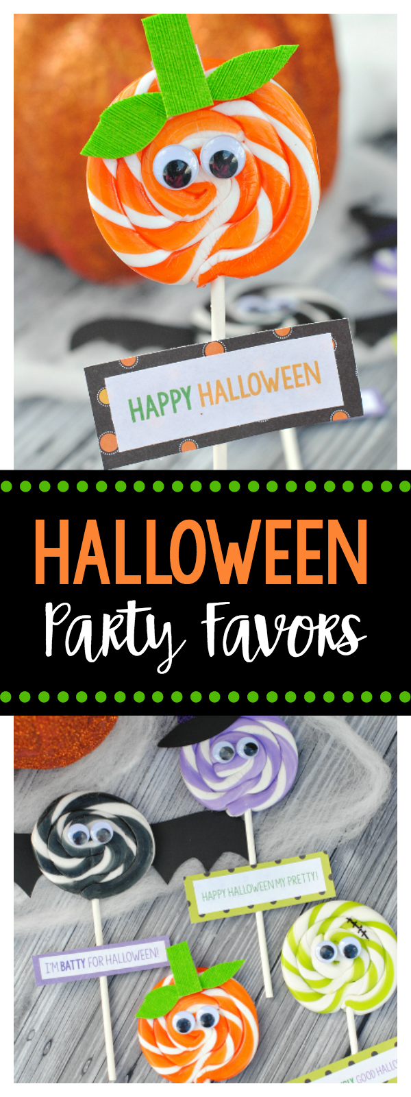 Cute Halloween Party Favors-Bat, Witch, Monster and Pumpkin Suckers