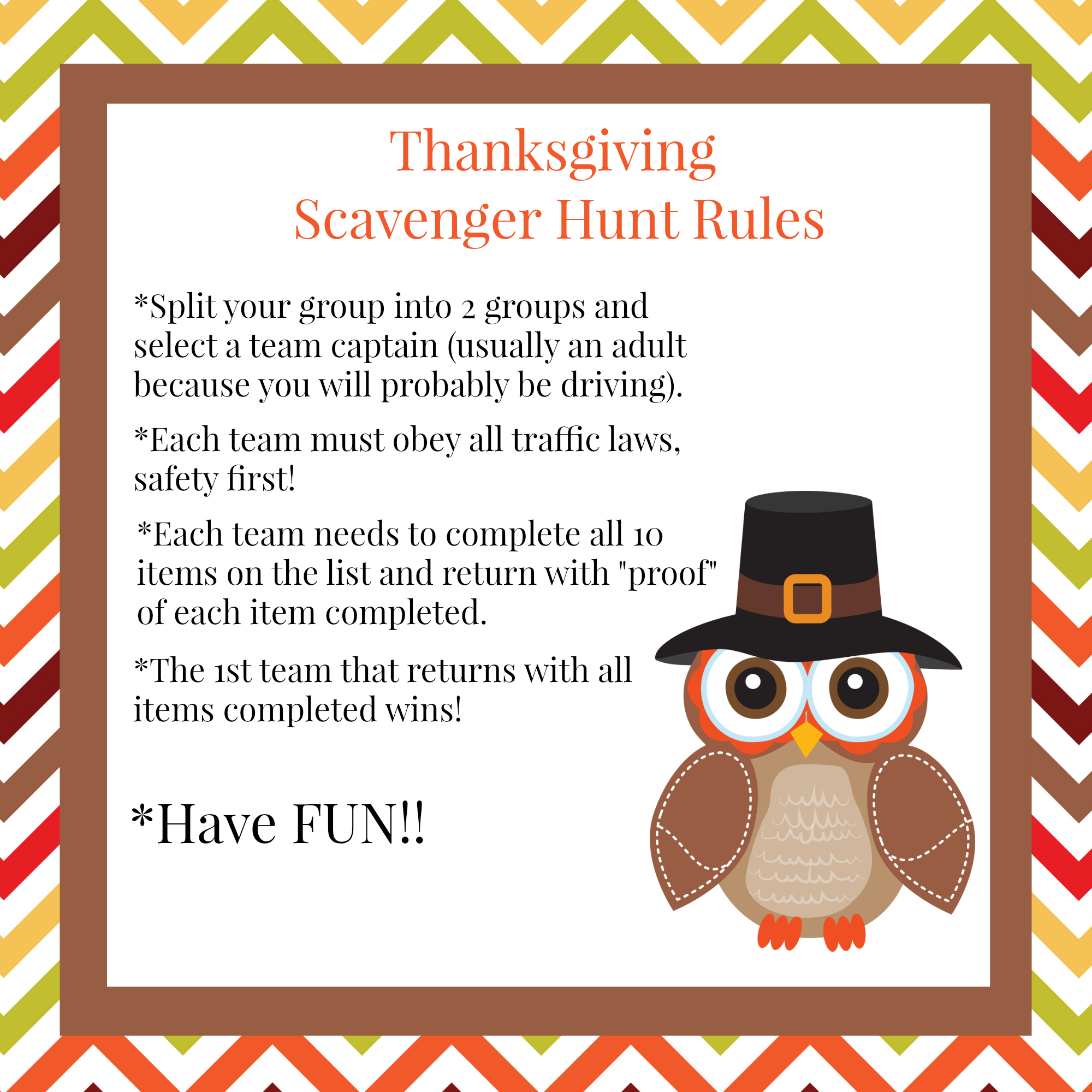 Fun thanksgiving family games scavenger hunt squared