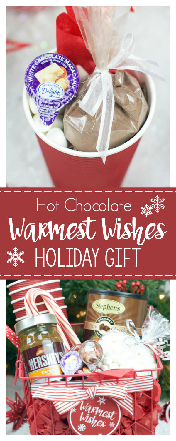 Hot Chocolate Gift Basket and Gift Ideas for Christmas-This is the BEST gift for someone who loves hot chocolate (and who doesn't?!) Add the Warmest Wishes tag and it's great for coworkers, neighbors or friends. #christmas #neighborgifts