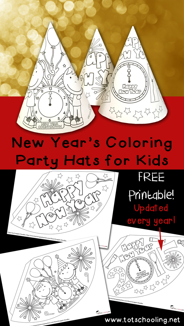free-new-years-coloring-hats