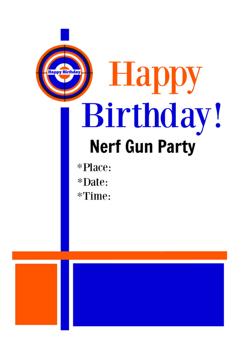 This is a graphic of Lucrative Free Printable Nerf Party Invitations