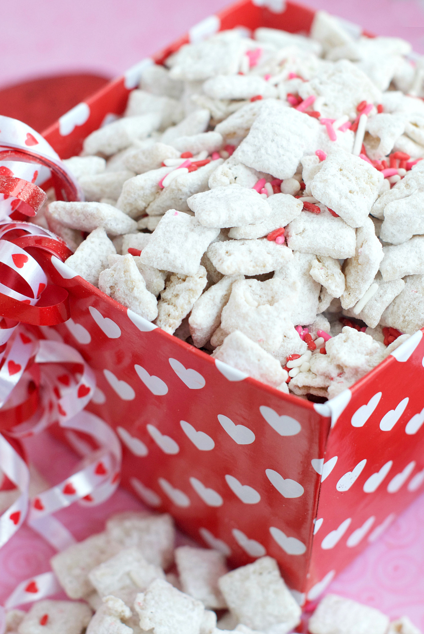 Cherry Chip Muddy Buddies for Valentine's Day