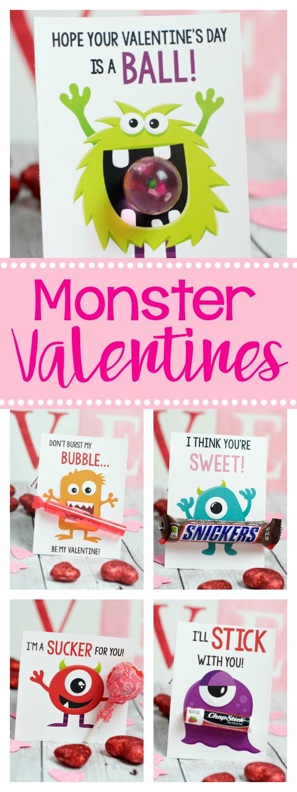 Cute Free Printable Monster Valentines