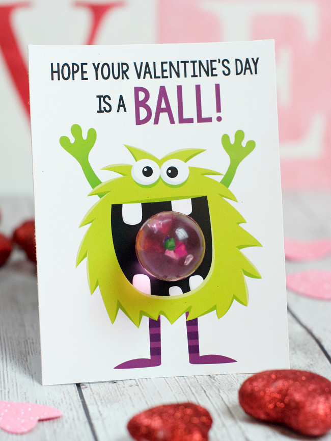 Hope Your Valentine's is a Ball Monster Valentine Idea