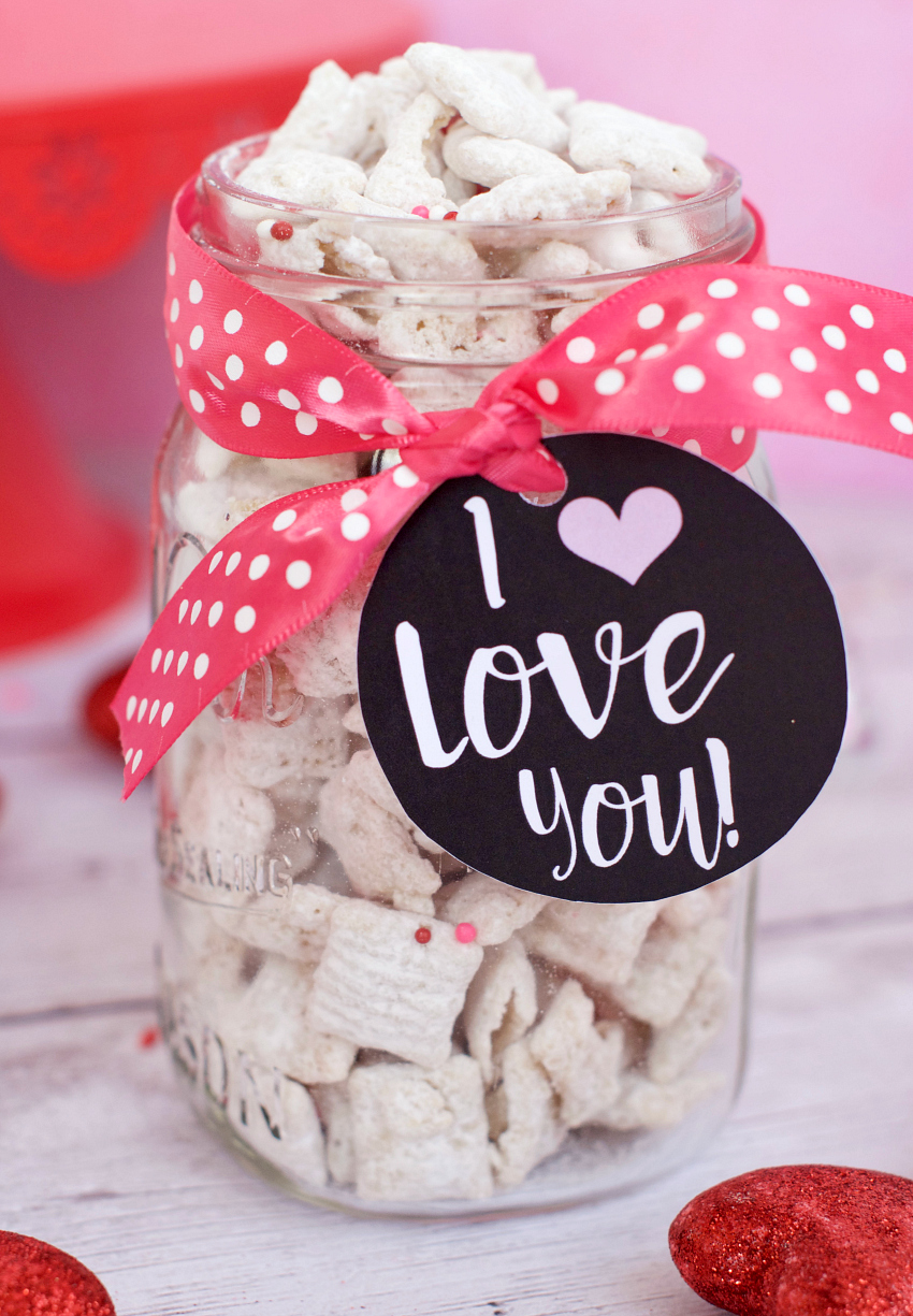 Cherry Chip Muddy Buddies for Valentine's