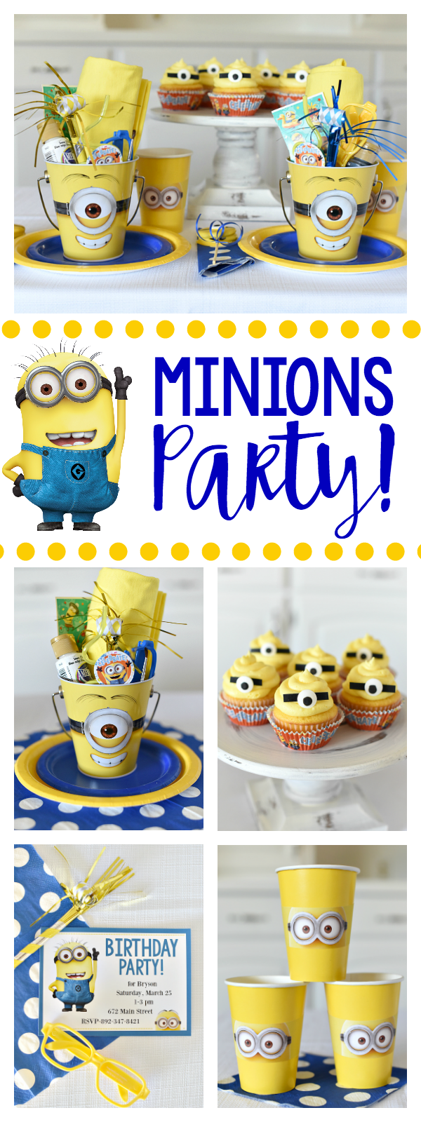 Minion Party Ideas for a Kid's Minion Birthday Party! Invitations, Decorations, Food, Favors and More!