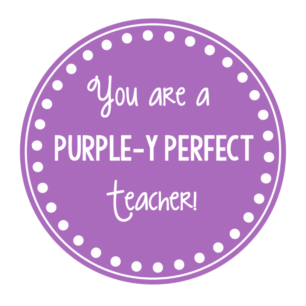 Purple Gift Tag for Teachers