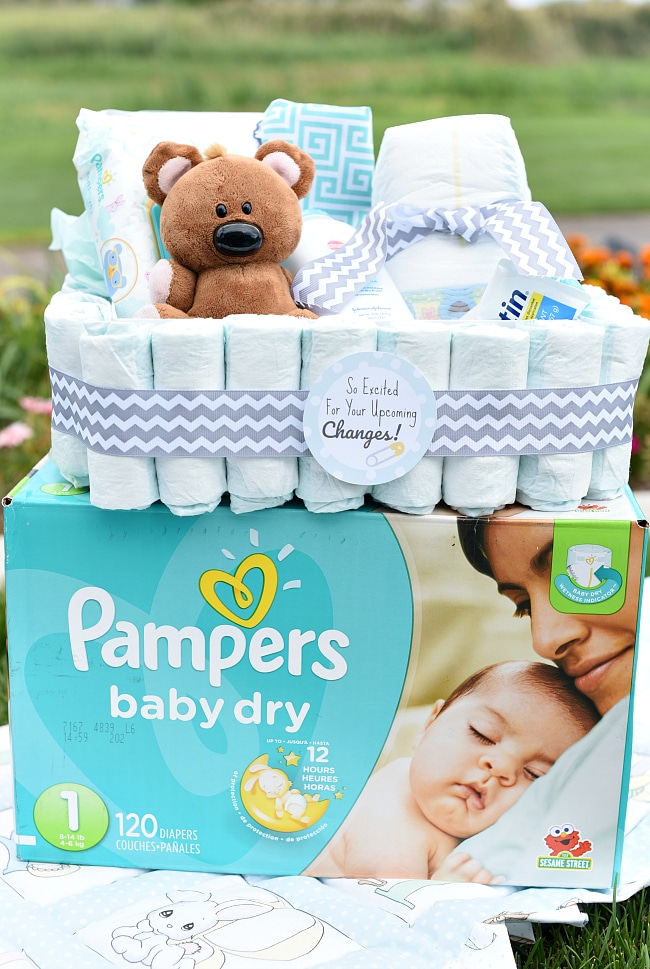 Baby Gift Ideas Using Diapers : Diaper themed baby gift idea fun squared
