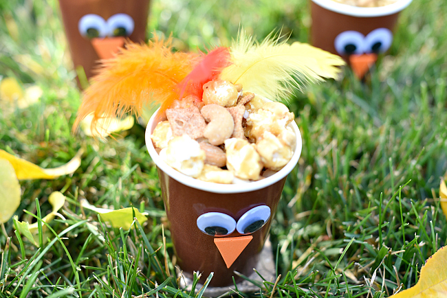 Thanksgiving Favor-Fill these cute turkey cups with a fun snack mix