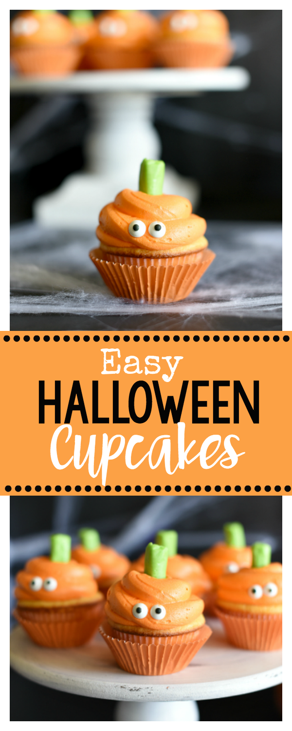 Easy Halloween Cupcakes with Cute Pumpkin Faces