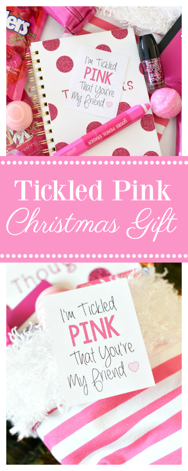 Tickled Pink Christmas Gift-Fill a Stocking Full of Fun Pink Things and Add This Cute Tag!