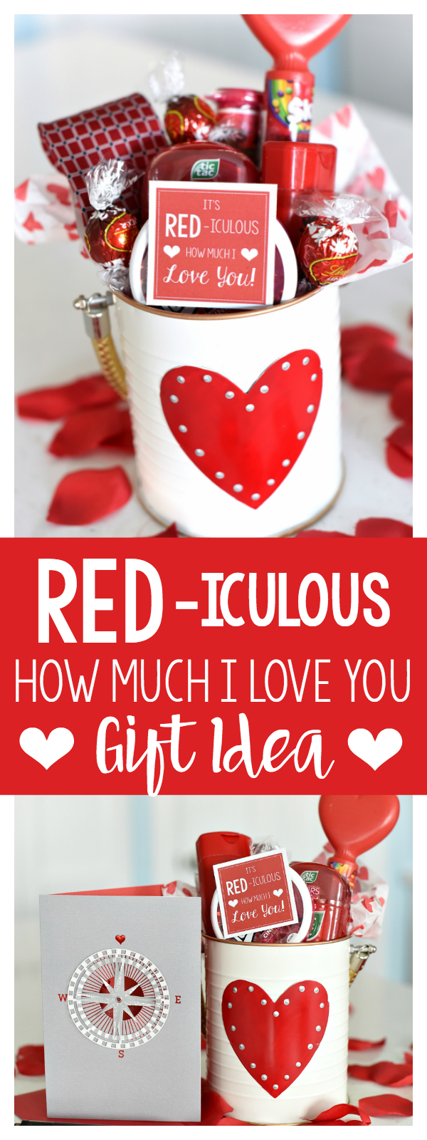 "Cute Valentine's Gift Idea-Red Themed Items and Cute Tag That Says ""It's RED-iculous How Much I LOVE You!"