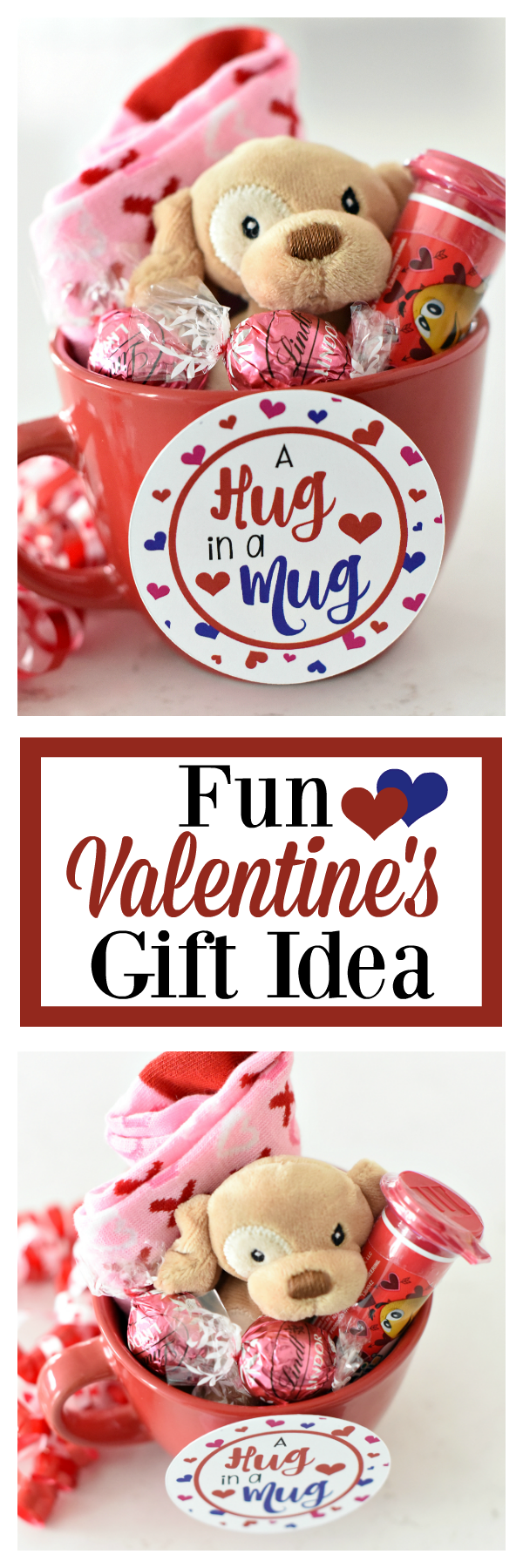 Fun Valentine's Day Gift Idea for kids-Print this Hug in a Mug tag and fill a mug with cute little Valentine's gifts for your kids. #valentinesday #valentinesdaygifts