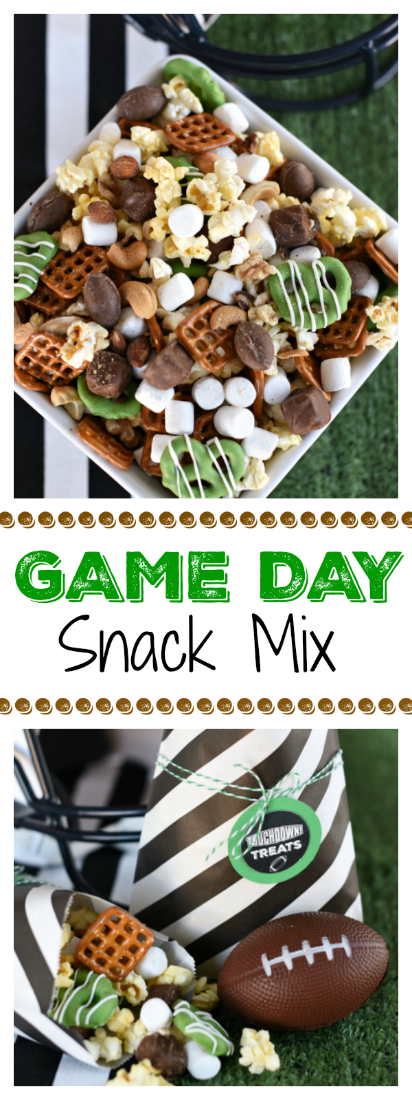 Game Day Snacks-Great Snack Ideas for a Football Party! You will fall in love with this yummy game day snack mix. So simple to make and so tasty you will want to have plenty on hand! #gamedaysnacks #gamedaysnackmix #footballpartymix #footballpartyfood