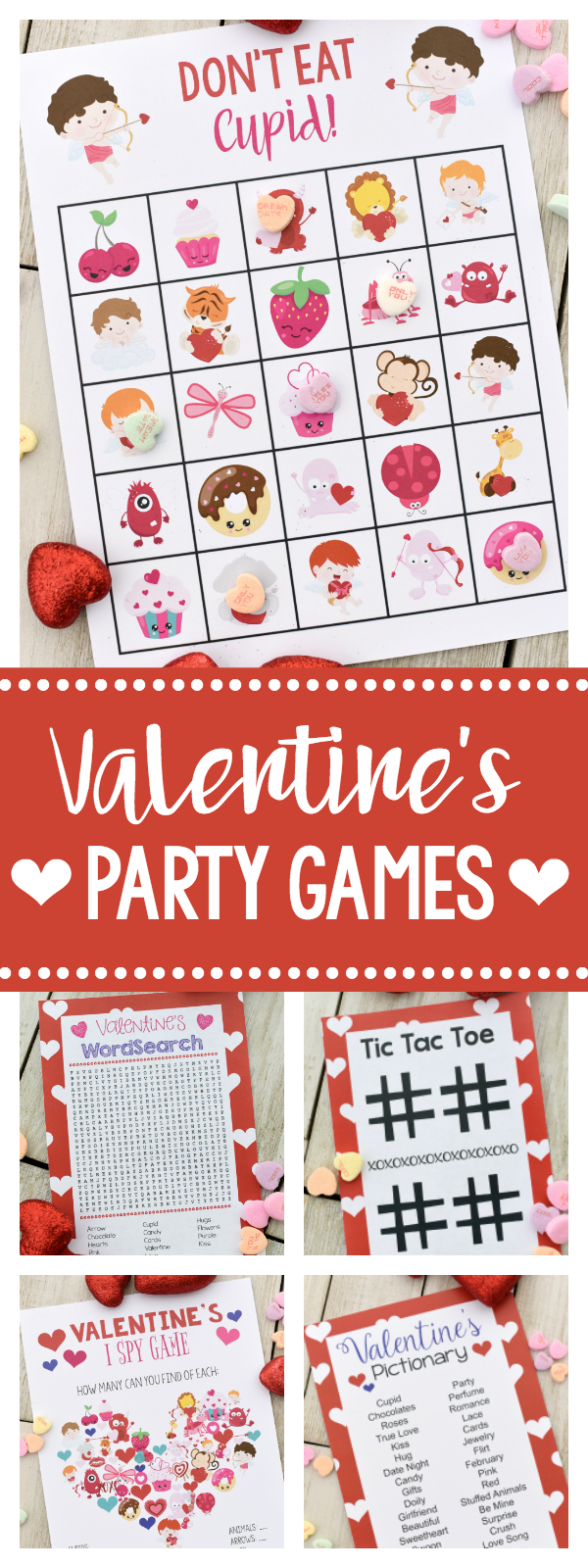 Fun Valentine Games to Print and Play for your Valentine's Day parties! Bingo, Don't Eat Cupid, Word Search and more! This will make planning your Valentine's Day party so easy! #valentinesday #valentinesparty #partyideas #kidsparty