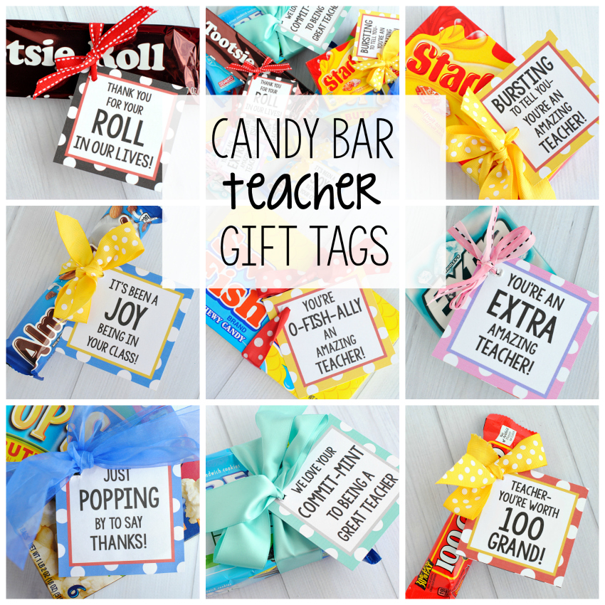 Classroom Ideas For Teacher Appreciation Week ~ Teacher appreciation gifts candy bar gift tags fun squared