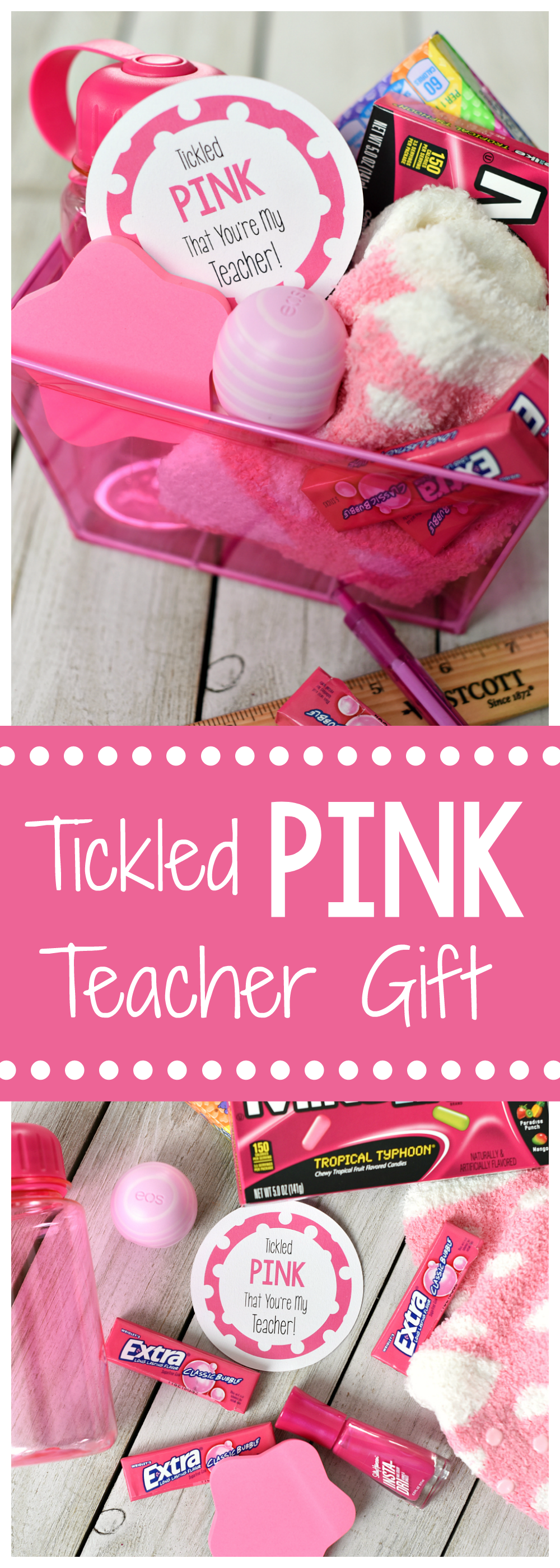 "Cute ""Tickled Pink"" Teacher Gifts-Fill a gift basket with pink things and add this cute tag and you've got the best gift for a teacher! #teacherappreciation #teachergifts #teachergiftsendofyear"