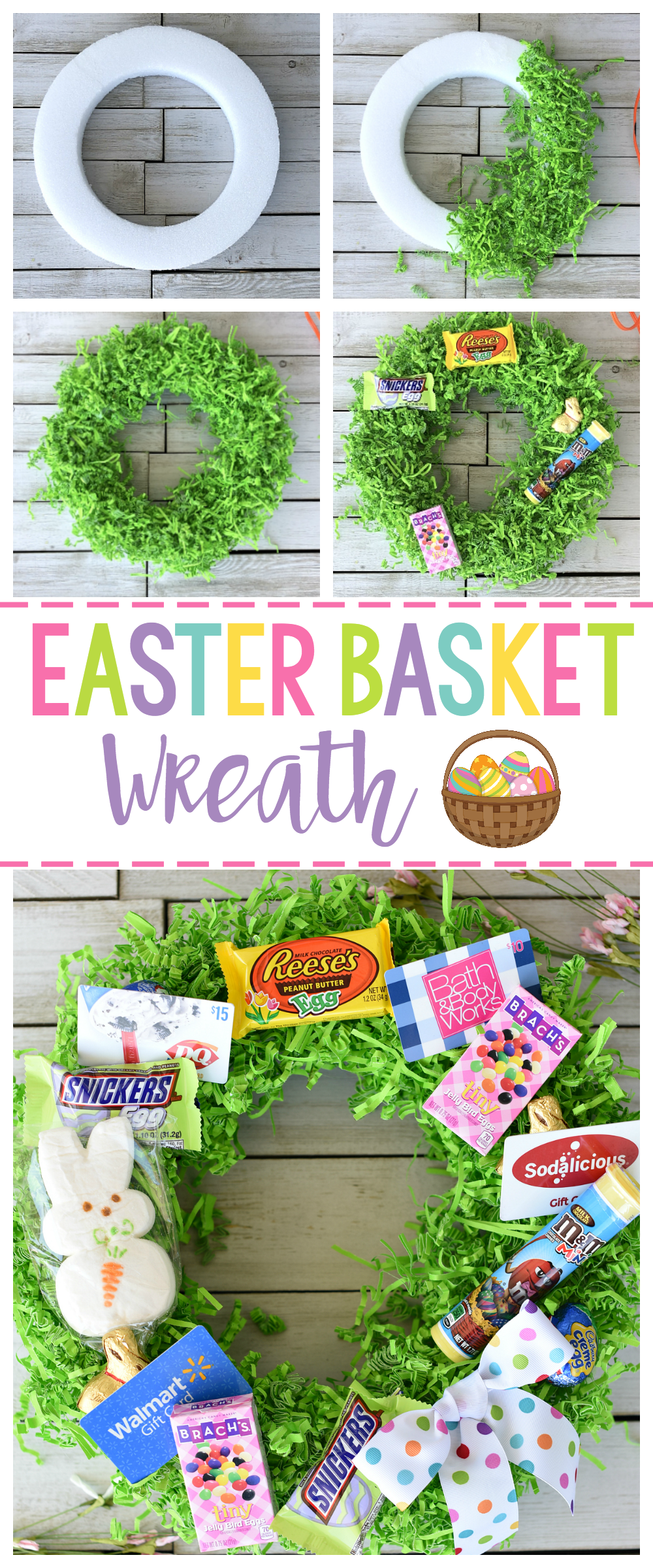 Fun easter basket ideas easter basket wreath fun squared creative and fun easter basket ideas think outside the traditional easter basket this year and negle Images