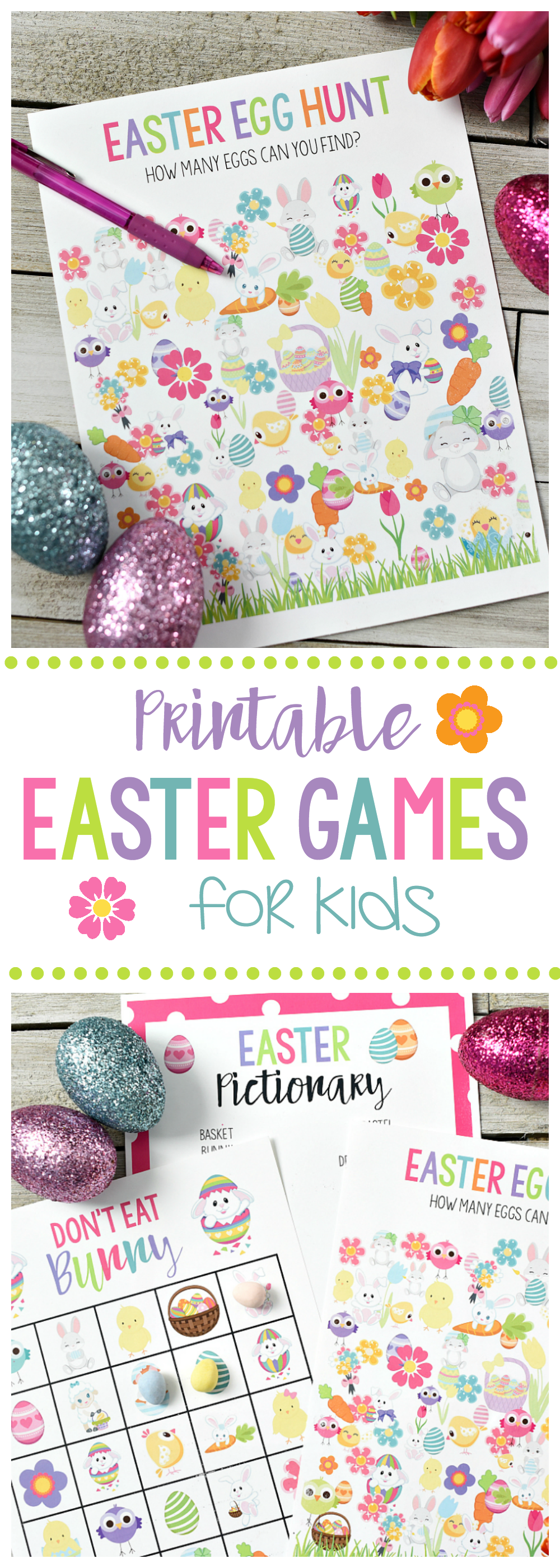 Cute Free Printable Easter Games for Kids-Easter Egg Hunt, Don't Eat Pete, and Easter Pictionary