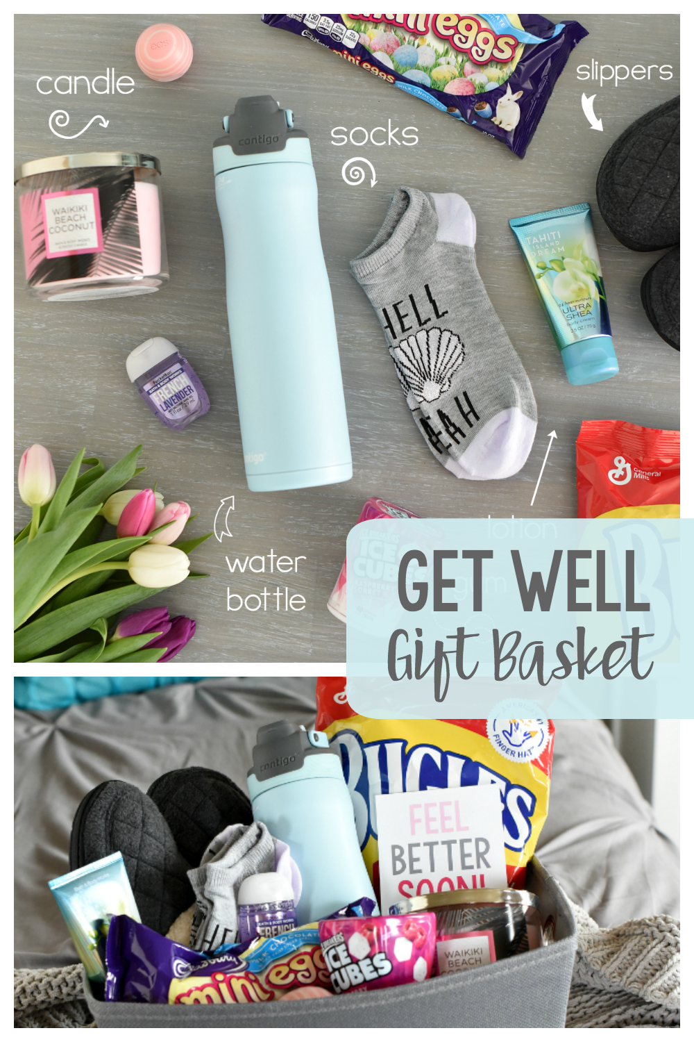 This Get Well Soon Gift Basket will brighten a friend's day if she is feeling sick or recovering from surgery. We've got ideas of what to put in the basket and free printable tags. #getwellsoon #giftbaskets #giftbasketideas