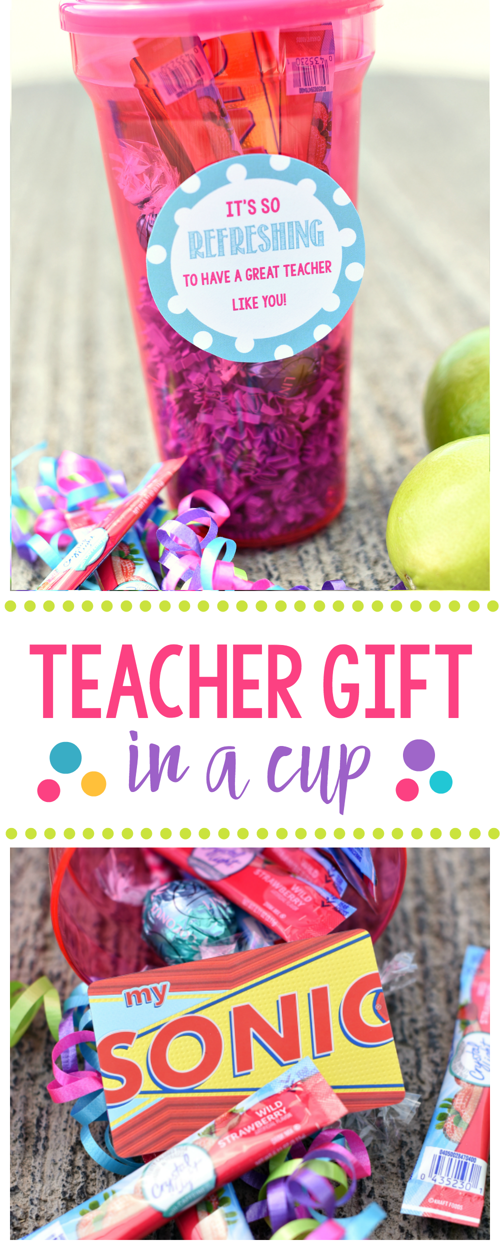 Refreshing and fun teacher gift in a cup fun squared cute teacher appreciation gift idea fill a cup full of fun for the teacher and negle