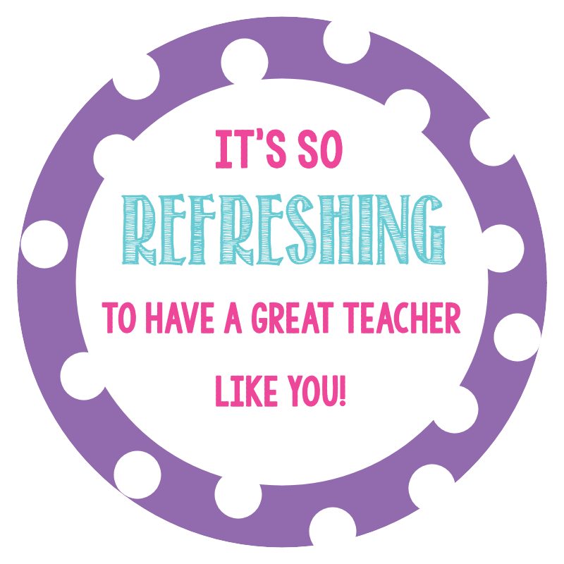 Refreshing and fun teacher gift in a cup fun squared teacher appreciation gift tags teacher gift tag negle Image collections
