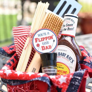 Funny Dad Gifts: Flippin' Good Dad BBQ Basket