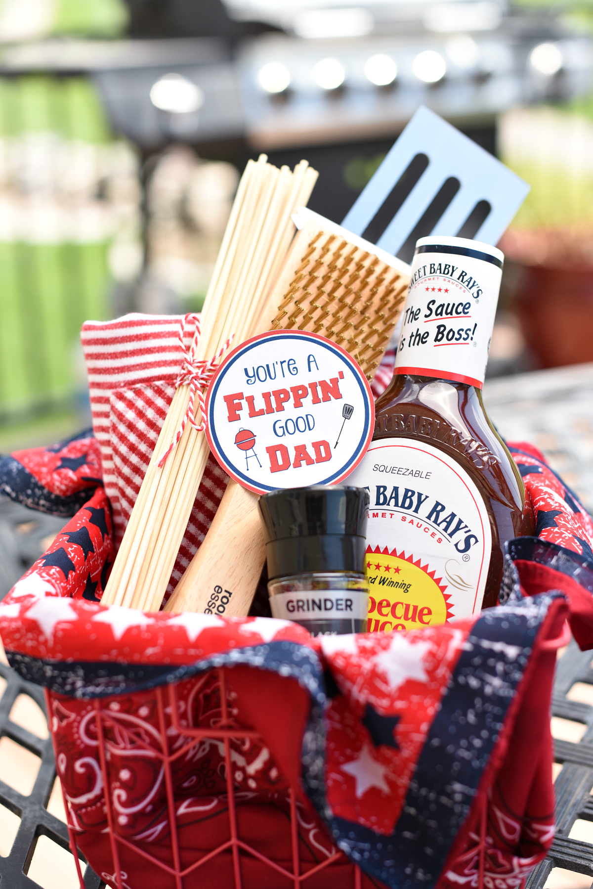 Funny Dad Gifts: Flippin\' Good Dad BBQ Basket – Fun-Squared
