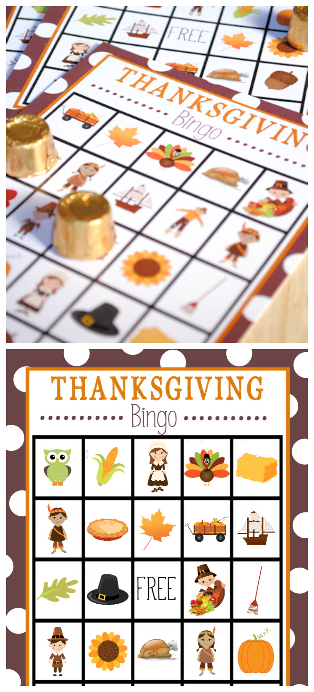 Free Printable Thanksgiving Bingo Game-This is a great game to play while the turkey cooks or for a Thanksgiving party. Just print and play this cute Thanksgiving Bingo game. #Thanksgiving #turkey #bingo