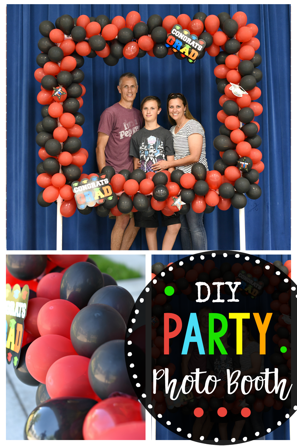 Make this fun DIY photo booth for your next party or event! It turns out so great and is perfect for birthdays, weddings, graduations and any special occasion. Instructions to make this from PVC pipe and balloons. #party #partydecor #partydecorations #partyideas #birthday #birthdays #graduation