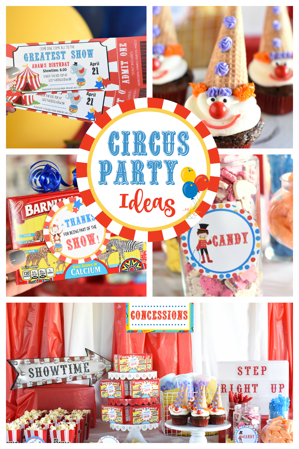Circus Party Ideas-This fun circus party is filled with ideas for circus party invitations, decorations, food, and activities. #party #birthdayparty #birthday #thegreatestshow