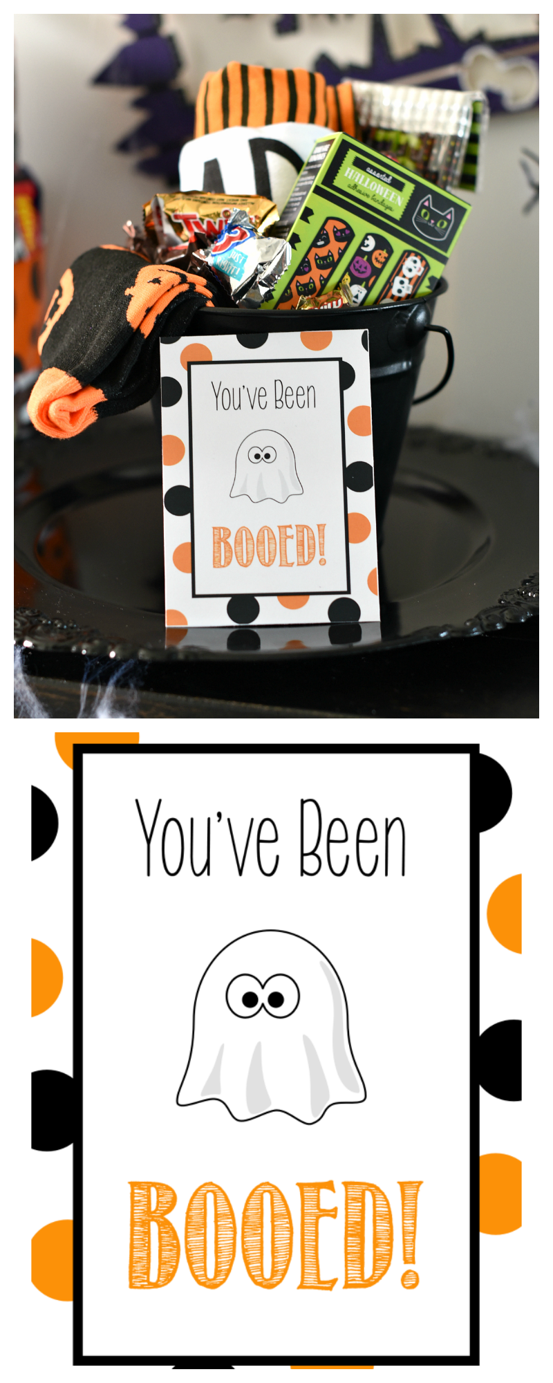 """You've Been Booed! These are the cutest printable You've Been Booed tags around. Free to print, then fill up a basket with fun Halloween items and """"Boo"""" someone by dropping it on their door. #Halloween #boo #holiday #gifts #giftideas #giftbaskets"""