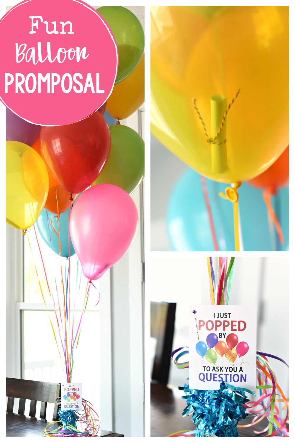 Fun Balloon Promposal for Homecoming, Prom or any Dance! A cute way to ask someone to a dance, fill the balloons with papers-one of them asks the question but they've got to pop them to find the right one. #homecoming #promposal #prom #highschool