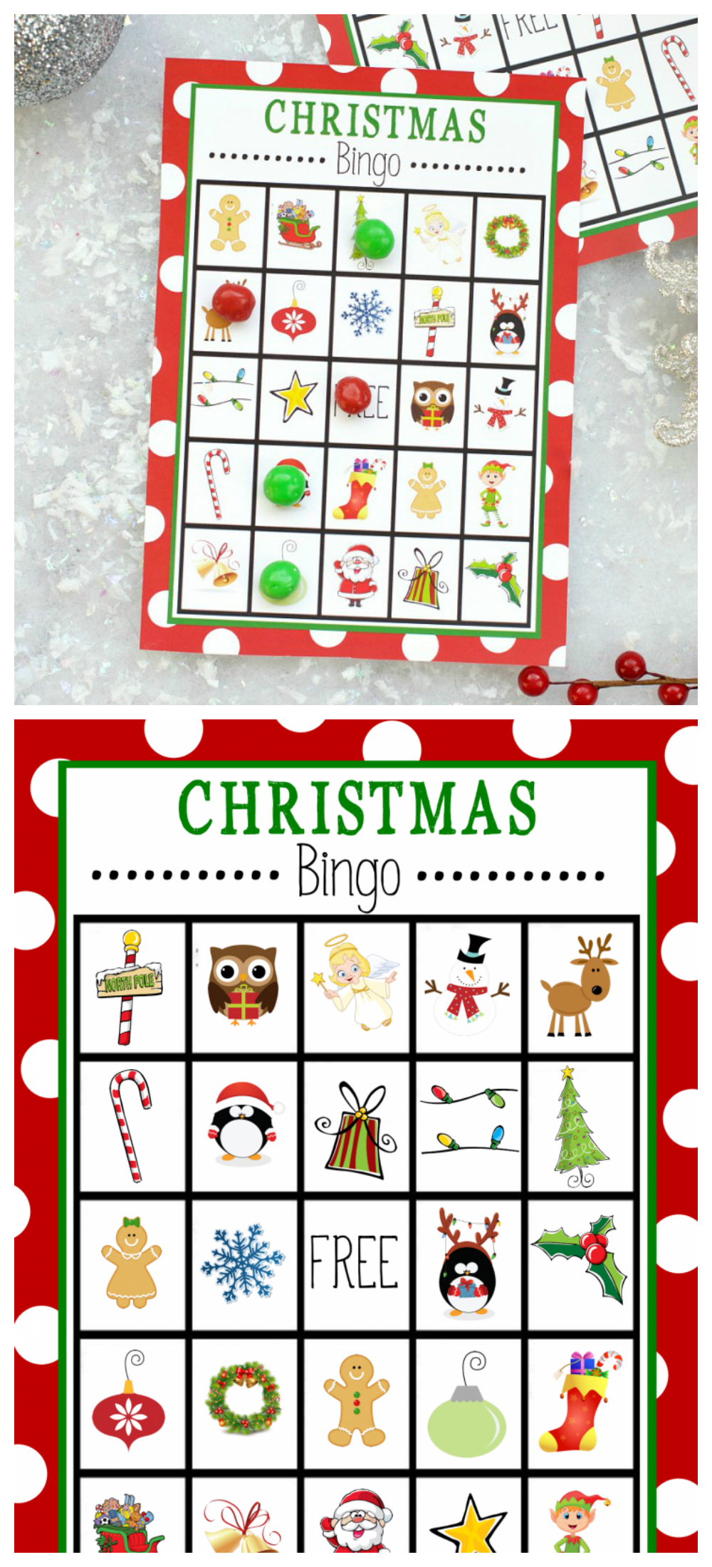 Free Printable Christmas Bingo Game-This Christmas Bingo is perfect to print and play at a holiday party or just to have fun with the kids at Christmas time! #bingo #kids #kidsgames #Christmas #holidays