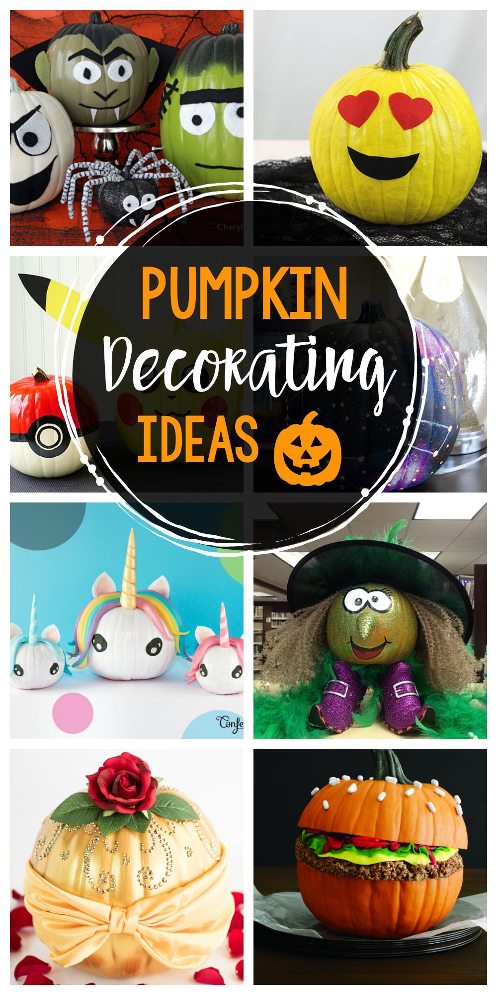 25 Fun Pumpkin Decorating Ideas-These cute no carve pumpkins are a fun way to celebrate Halloween! #halloween #halloweencrafts #pumpkins