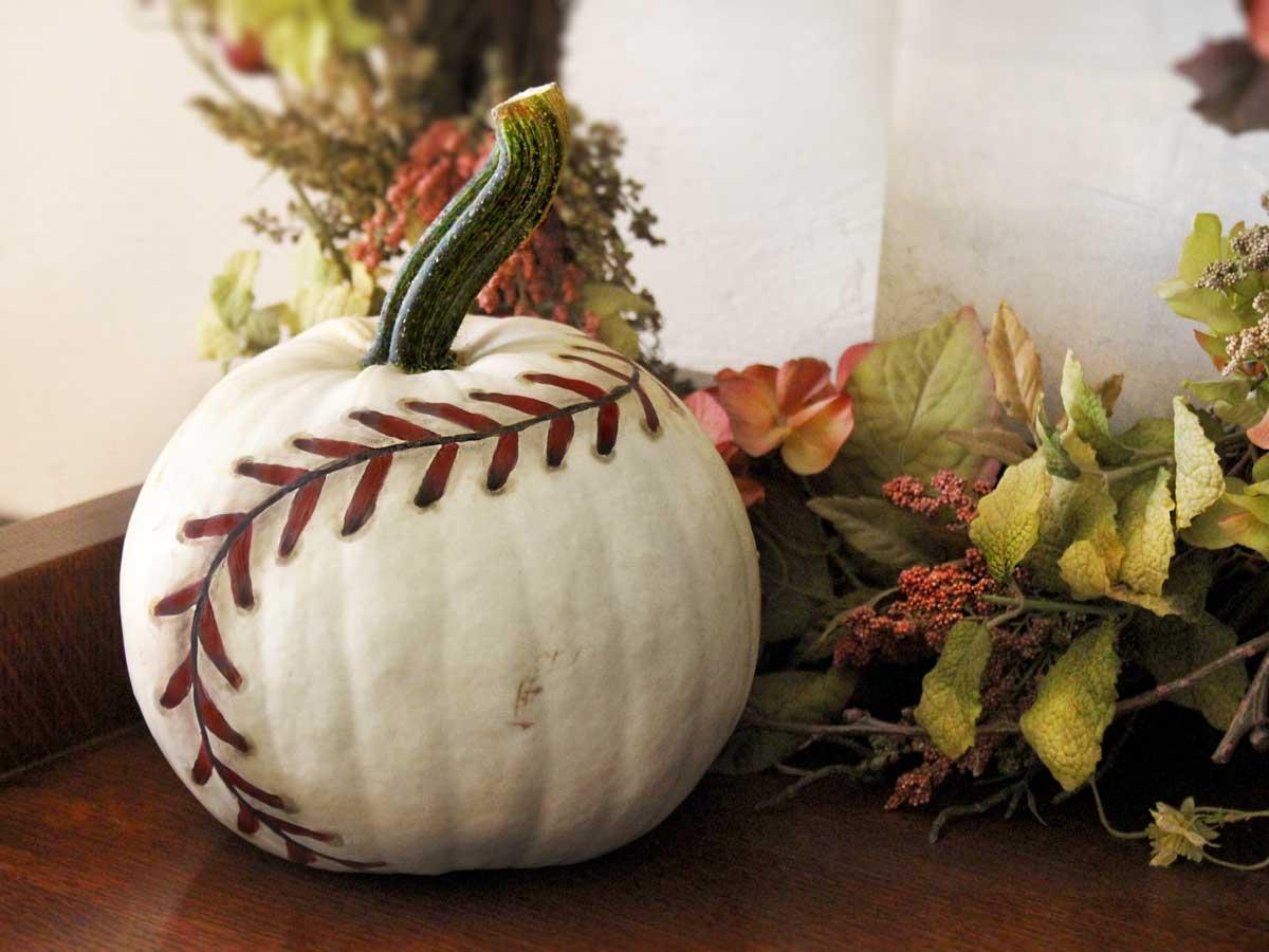 Baseball Pumpkin Decorating Idea