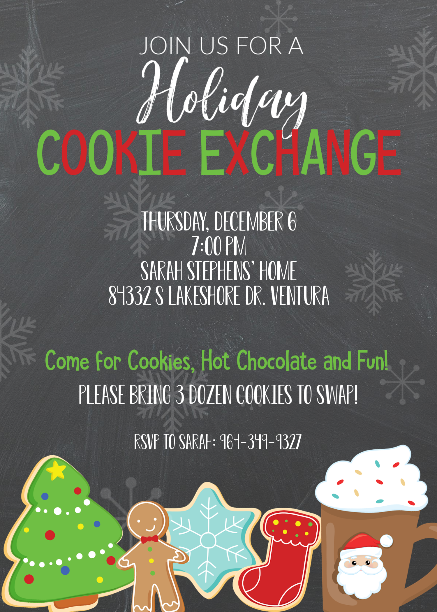 Christmas Cookie Exchange Invitations-Free to Customize and Print! #cookieswap