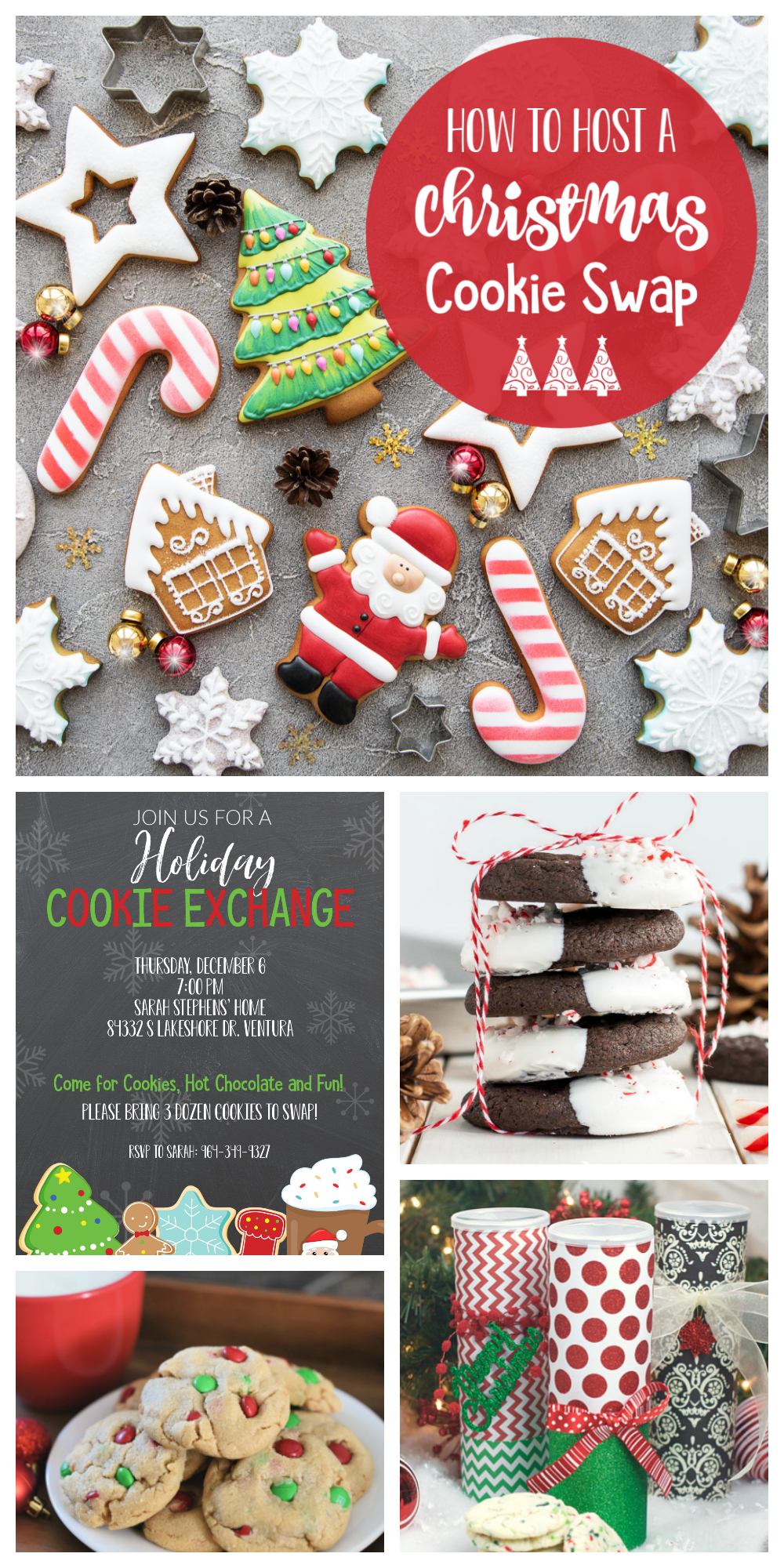 Christmas Cookie Exchange Party Ideas-How to host a fabulous cookie swap this holiday season. Cookie exchange recipes, activity ideas, cookie exchange invitations and everything else you need! #christmas #christmascookies #christmascookieparty #cookieexchange #christmasparty