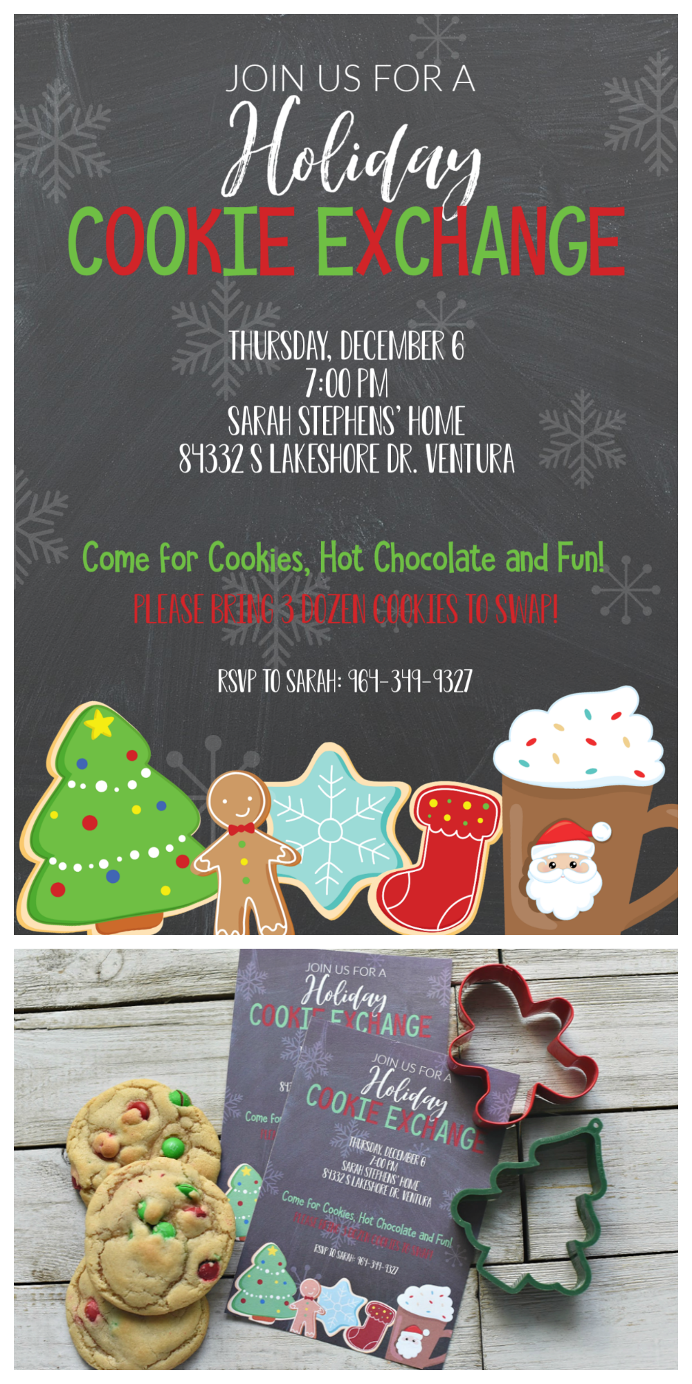 Christmas Cookie Exchange Invitations-Just customize and print these free invitations and recipe cards for your holiday cookie swap. #cookieswap
