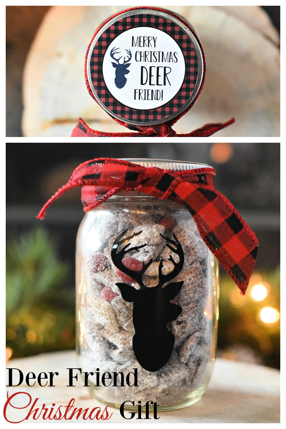 Deer Friend Gift Idea-Fill a jar with something yummy and add this cute Merry Christmas to you Deer Friend tag! Makes a great Christmas gift for neighbors or friends! #christmasgifts #christmasgiftideas #giftideas #neighborgifts