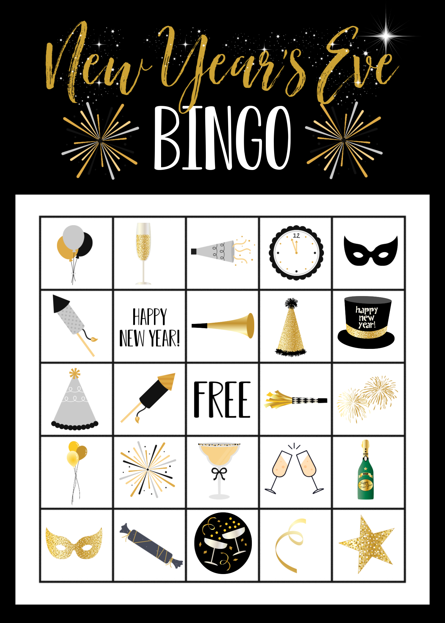 New Year's Eve Bingo Game Boards