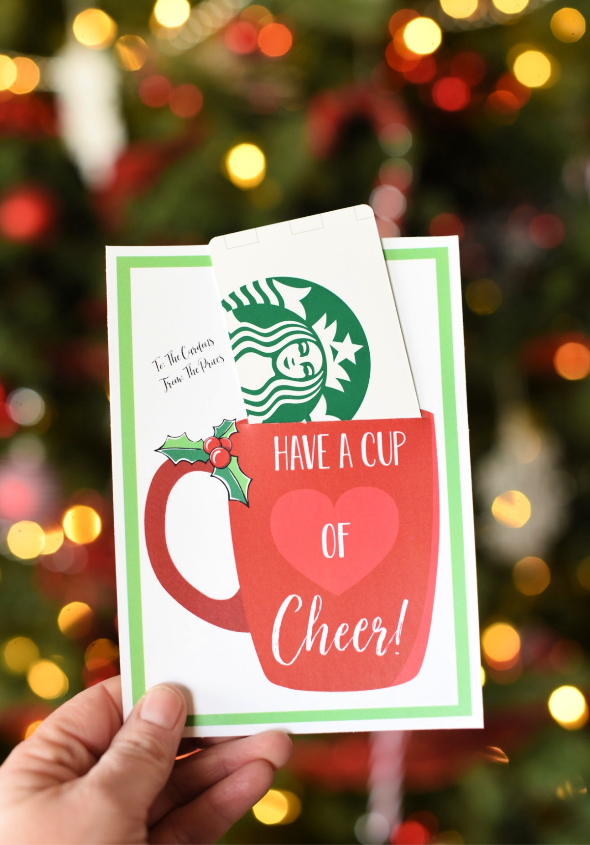 Have a Cup of Cheer Gift Card Holder-Just add a cute gift card like Starbucks to this printable gift card holder and you've got a great Christmas holiday gift idea for friends and neighbors. #christmasgift #neighborgift