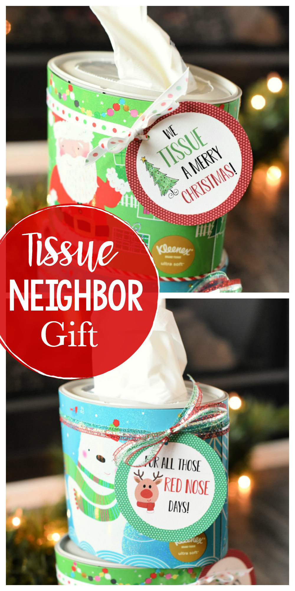 We Tissue a Merry Christmas! This cute neighbor gift idea is so easy to pull off and something they will love! Two tags available (the other one says For All Those Red Nose Days!) So simple and fun! #christmasgiftideas #neighborgiftideas