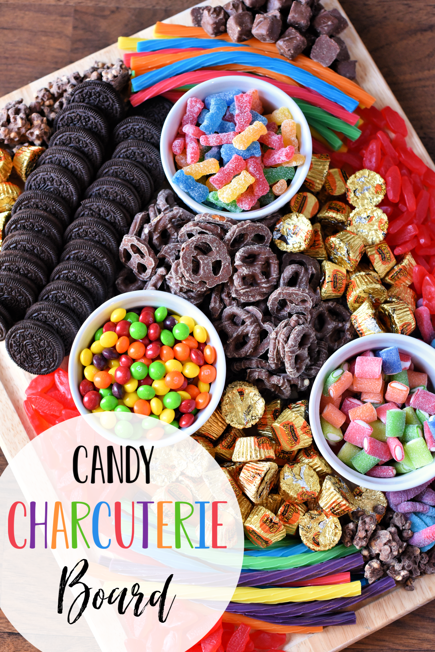 Candy Charcuterie Board-This fun spin on an old classic is perfect for a kid's birthday party or any party you're throwing. If you're looking for fun and creative charcuterie board ideas, this is it! #charcuterieboard #birthdaypartyideas #birthdaypartyfood